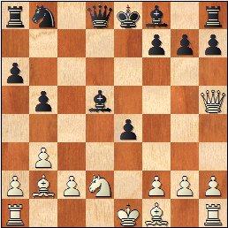 Partida de ajedrez Cifuentes-Puget del IV Campeonato de España de Ajedrez Femenino Valencia 1955, posición después de 13…e4?