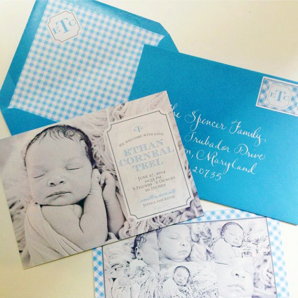 Custom Baby Boy Birth Announcement