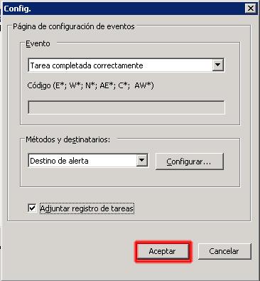 Checkbox de adjuntar registro de tareas - Aplicar