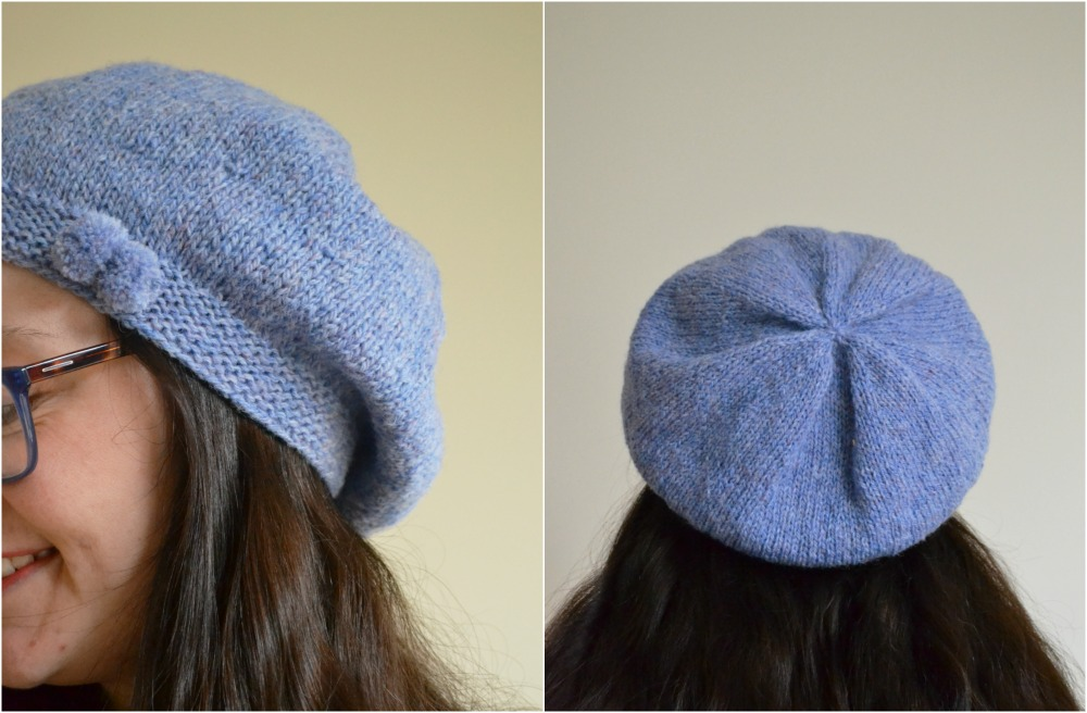 knitted beret with a bow helen woodward pattern hat ravelry new lanark yarn wool DK sky