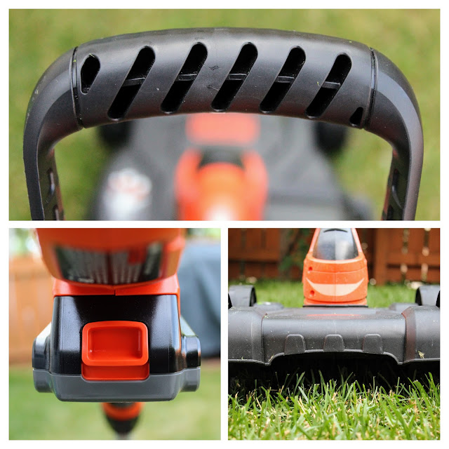 Black & Decker 3 in 1 Cordless Mower - A three picture collage of the auxiliary handle, battery and detachable mower deck.