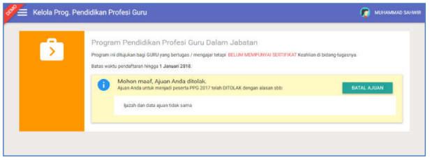 status ajuan kepesertaan PPG yang ditolak oleh Admin LPMP