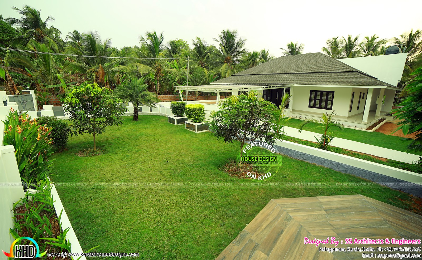 Full finished home with landscaping kerala home design for Kerala style garden designs