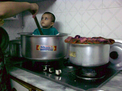 Funny Pakistani kid in kitchen