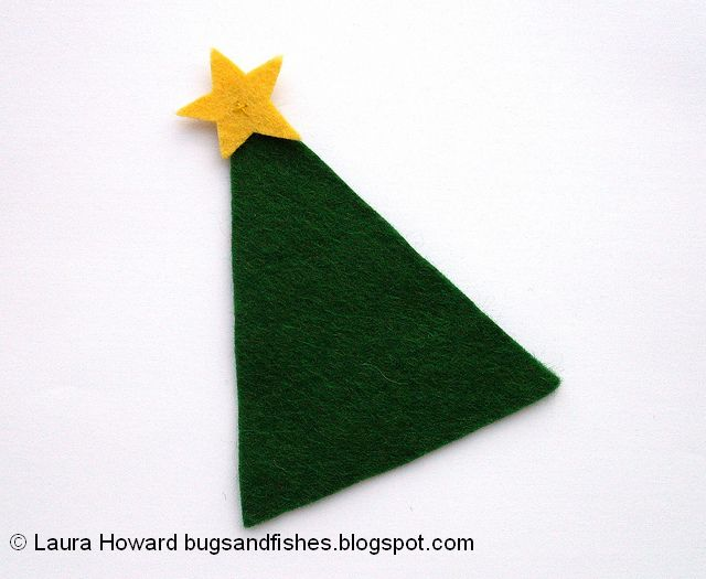 felt Christmas tree ornament topped with a mini felt star