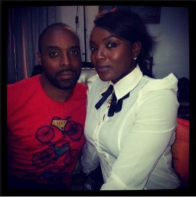 Chioma Akpotha on set with Kalu Ikeagwu