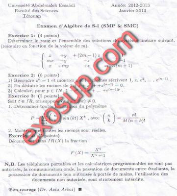 examen d'algèbre de S1 smpc FS Tétouan 2012 2013