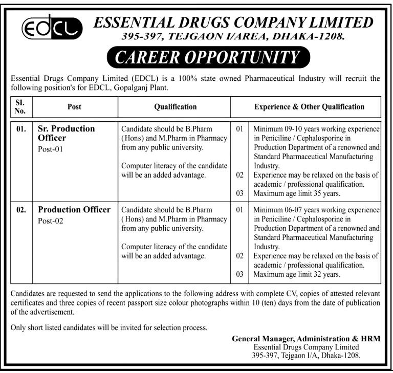 Essential Drugs company lmt new job circular 2019
