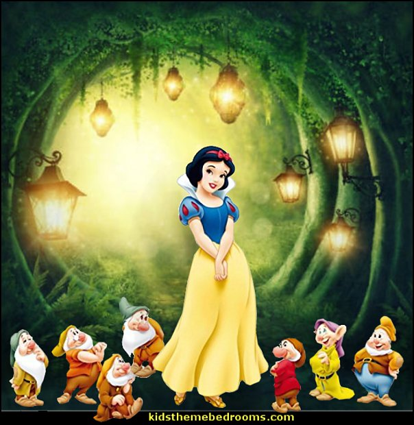 Snow White wall decals  Magic Green Forest wallpaper mural  princess snow white bedroom decorating ideas