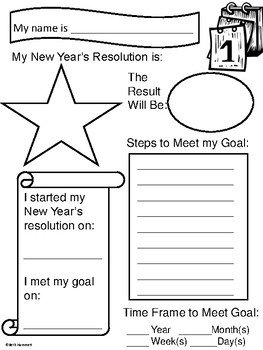 new years resolution coloring pages | Education Helper