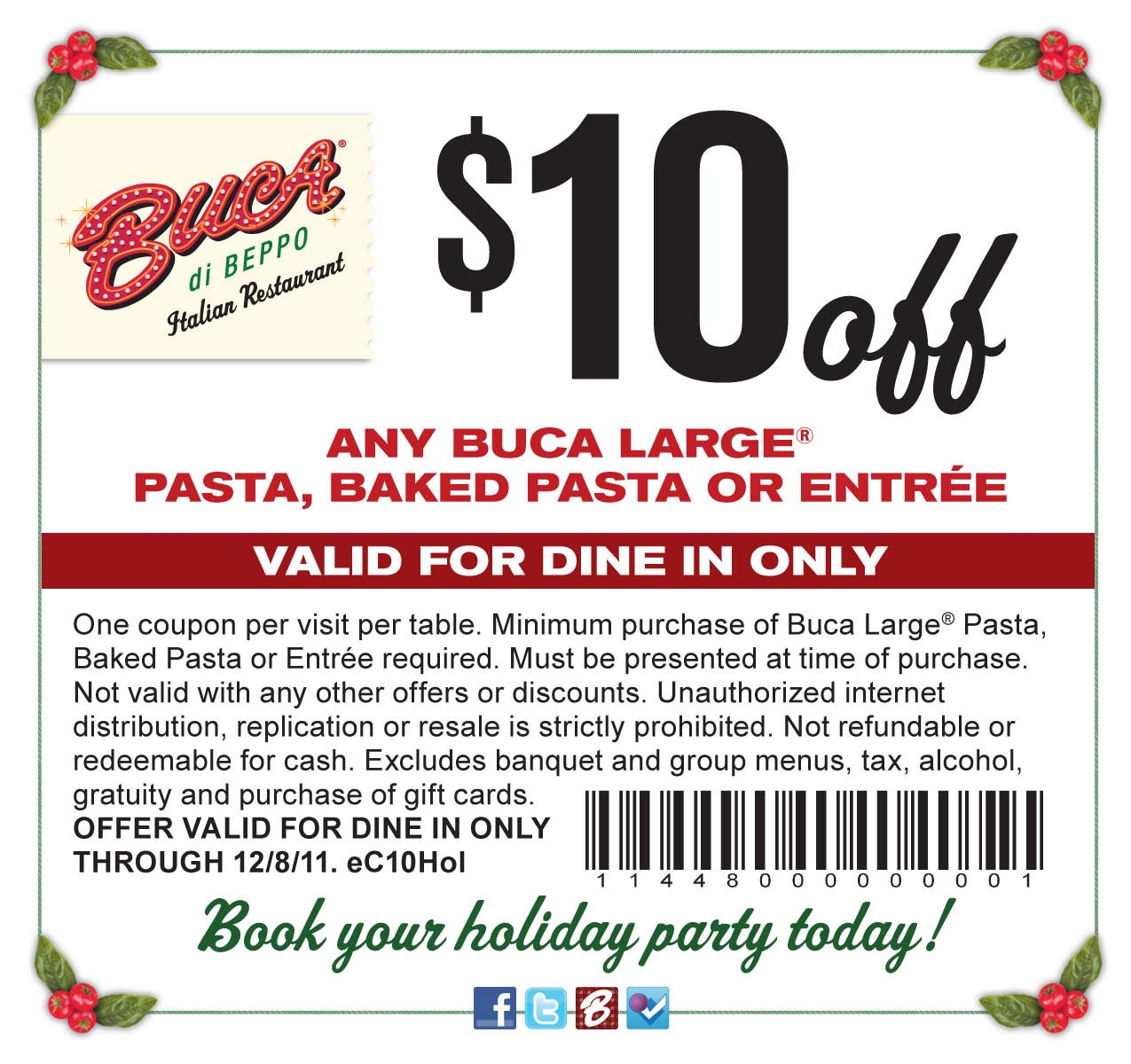 Savvy Spending Buca Di Beppo 10 Off Any Entree Coupon