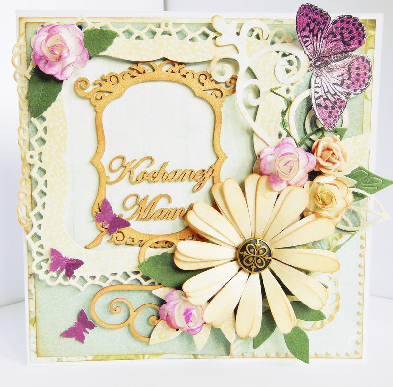 Kartka handmade z kwiatami dla mamy