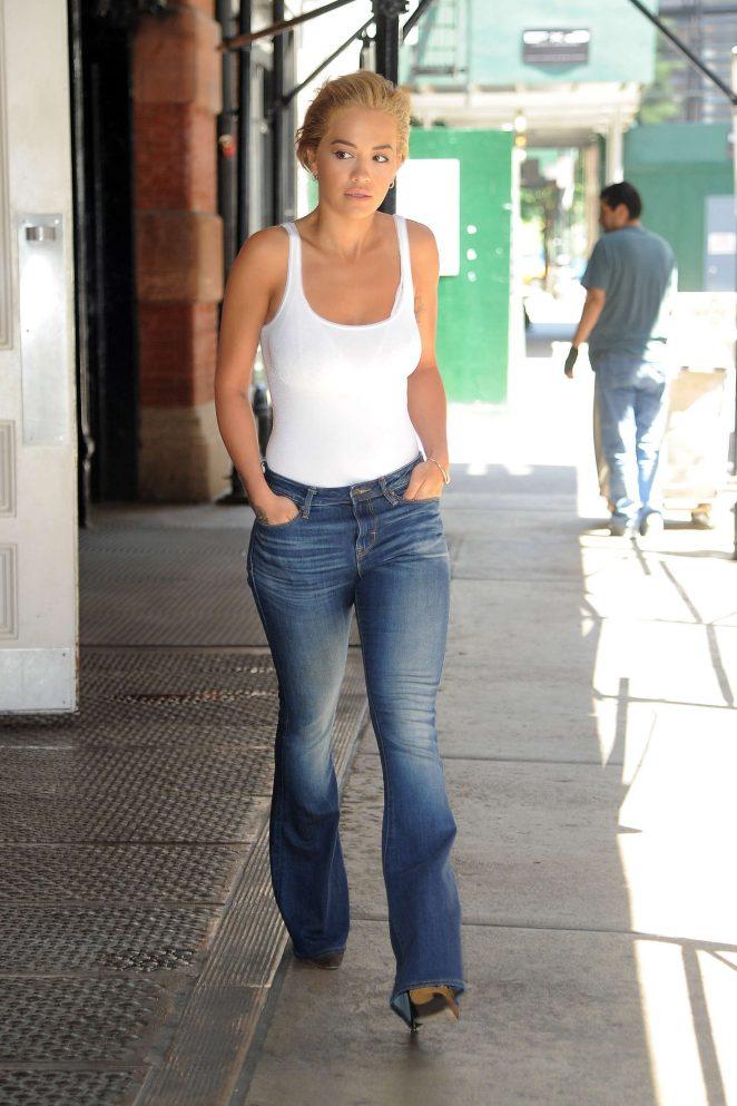 Rita Ora flaunts denim jeans and tank top in NY