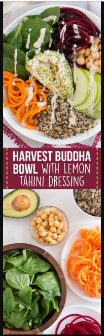 Harvest Buddha Bowl with Lemon Tahini Dressing Recipe