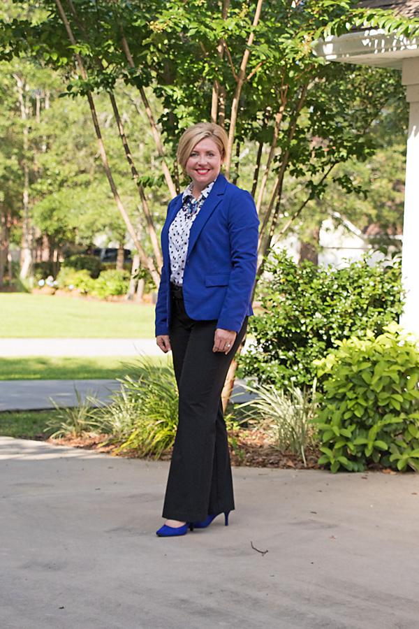cobalt blazer, cobalt pumps, office outfit
