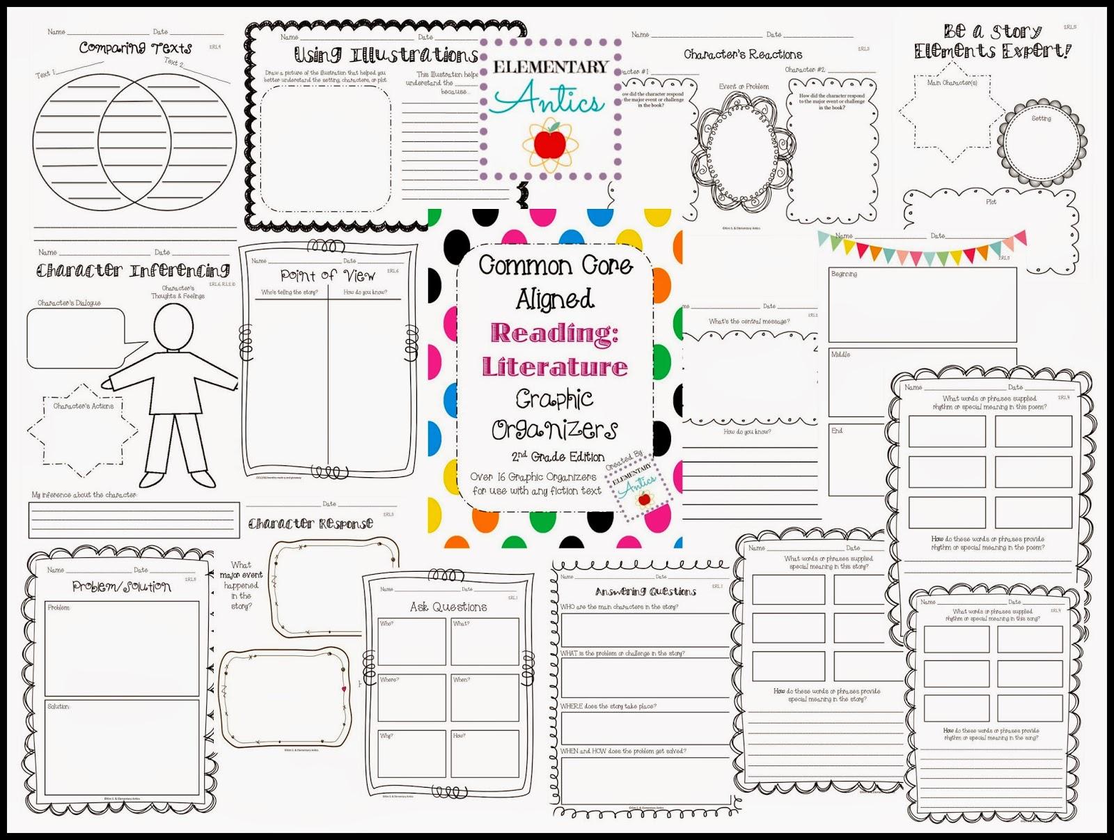 Reading Literature Graphic Organizers- all Common Core aligned