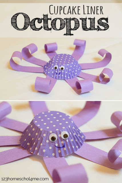 Cupcake Liner Octopus Craft for Kids - This is such a cute, easy-to-make ocean craft that toddler, preschool, prek, kindergarten, and first grade kids will love making (kids activities, summer crafts)