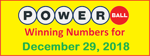 PowerBall Winning Numbers for Saturday, 29 December 2018