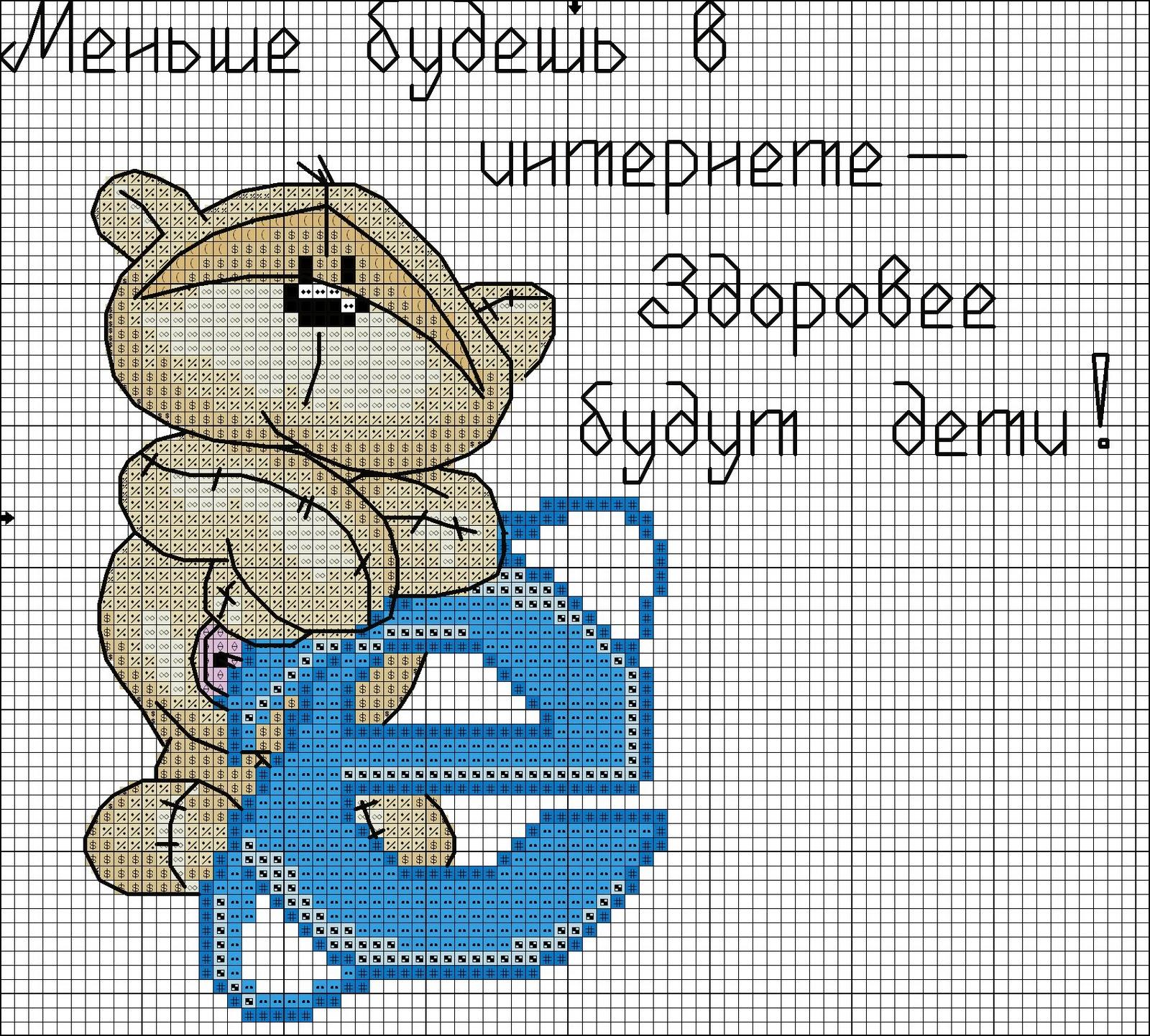 Вышивка крестом мишки тедди схемы любимого персонажа