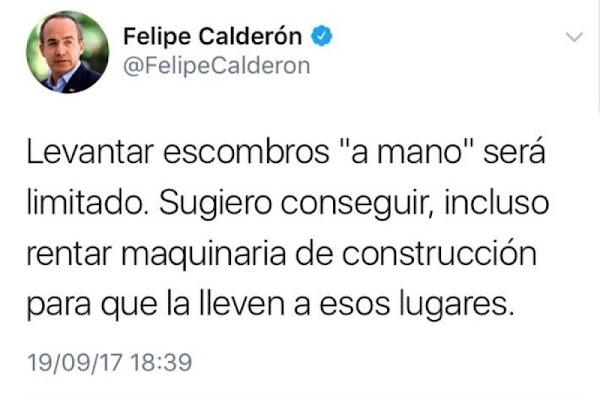 Calderón 'sugiere' conseguir maquinaria pero no hace nada por hacerlo