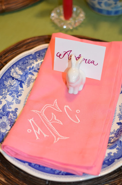 pink monogrammed napkins; Easter table; easter tablescape; easter dinner