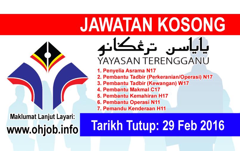 Jawatan Kerja Kosong Yayasan Terengganu (YT) logo www.ohjob.info februari 2016