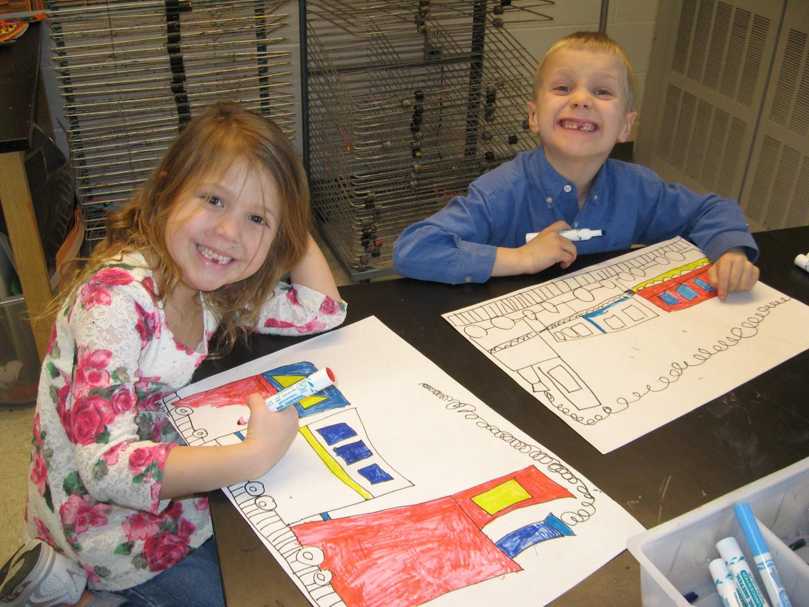 Jamestown Elementary Art Blog Kindergarten Primary Colored Trains