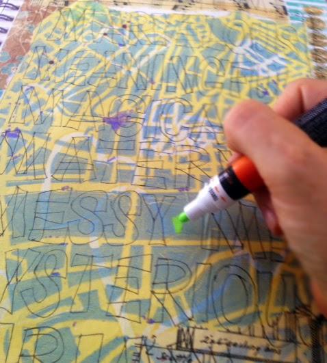 art journal techniques on http://schulmanart.blogspot.com/2014/07/art-journal-list-idea-alliteration-name.html