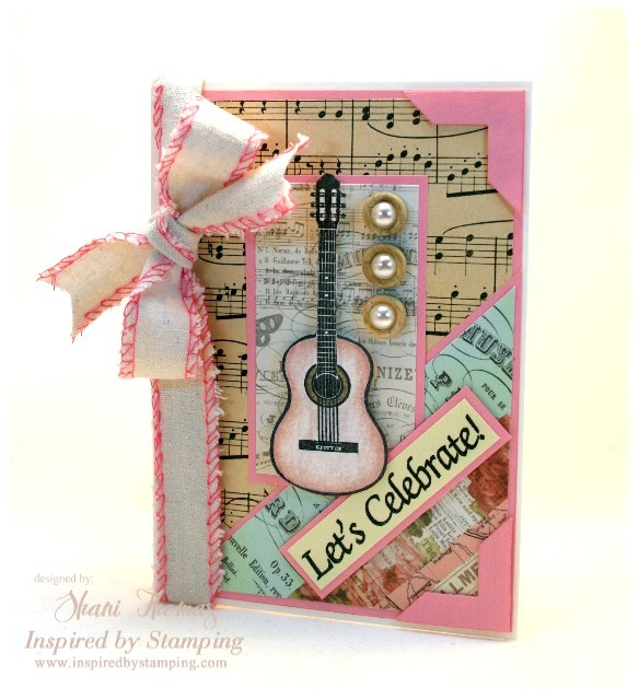 I Wanted A Girly Vintage Look For This Card So Softly Colored My Stamped Guitar Image With Pink Pencils And Fussy Cut It