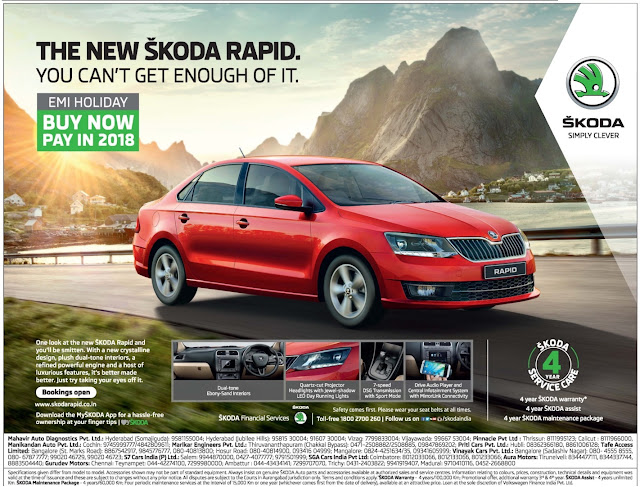 The New Skoda Rapid - Buy Now & Pay in 2018 | December 2016 Festival discount offers| Also get 4 year service care which includes 4 years SKODA warranty, 4 years Skoda assist and 4 years SKODA maintenance package |  year end sale offer 2016