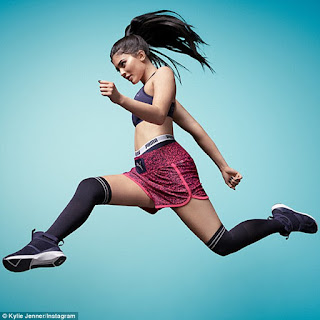 Kylie Jenner was featured in a brand new campaign unveiled Monday for Puma's brand new Fierce Strap Flocking trainers