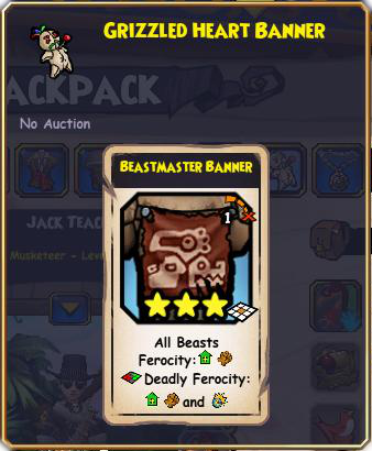 Pirate101 Best Grizzly Beast Pack Gear / Items - Beastmaster Banner