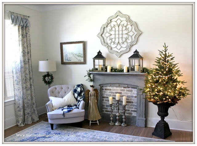 French Country-French Farmhouse-Christmas-Bedroom-Sitting Area-Christmas Tree In Urn-From My From Porch To Yours