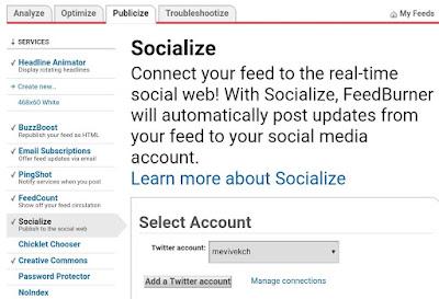 FeedBurner Socialize tab