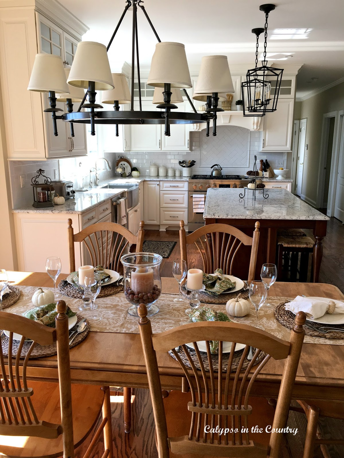 Fall Table Setting with White Kitchen view