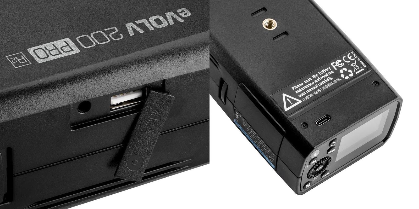 Разъемы на корпусе Flashpoint eVOLV 200 Pro (Godox AD200 Pro)