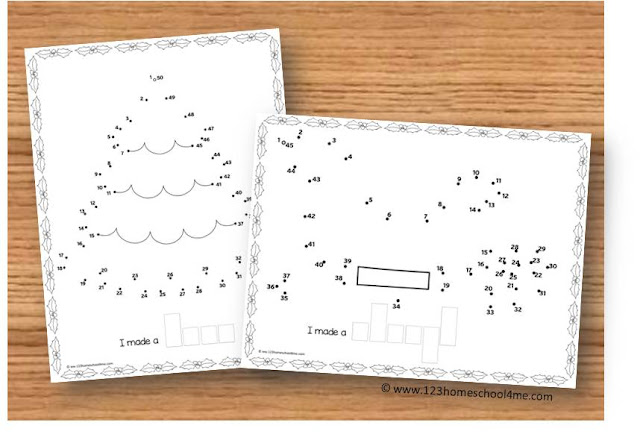 christmas printables - do to dot printables to help preschool, prek, and kindergarten age kidsto practice counting to 50