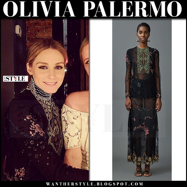 Olivia Palermo in black floral embroidered valentino resort 2017 dress with black beaded chocker what she wore party outfit
