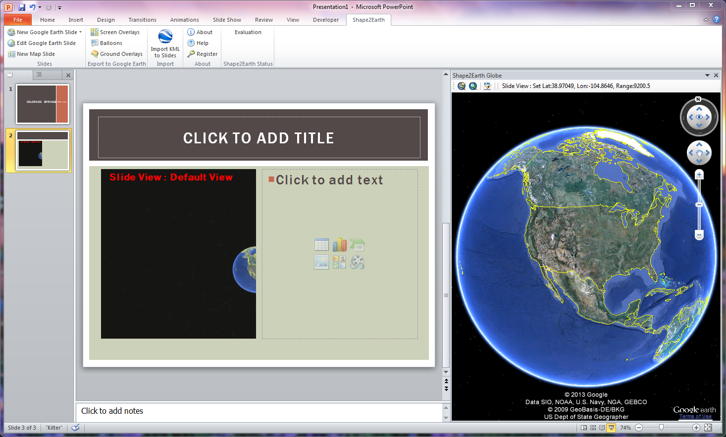 Interactive Earth: Control Google Earth with PowerPoint