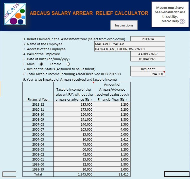 ABCAUS Excel Auto Salary Arrears Relief Calculator Form 10E Excel