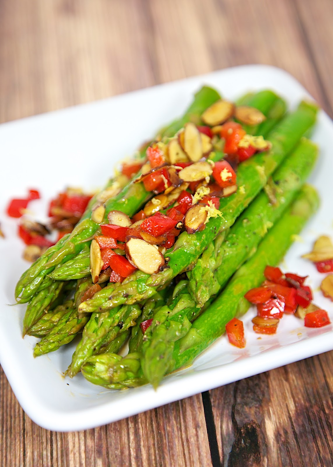Asparagus Amandine - fresh asparagus, red bell pepper, almonds, butter and lemon juice. Ready in minutes!
