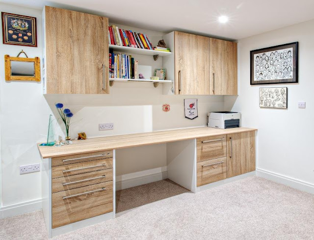 best custom white oak home office furniture with cabinets modern design