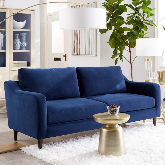 indigo blue royal style 3 seater sofa for small living room