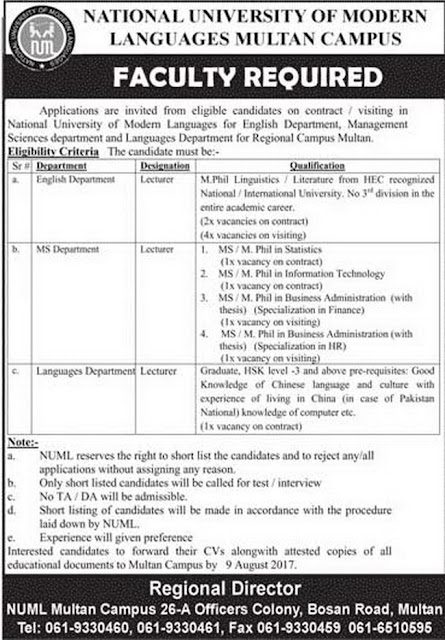 Lecturers Jobs in NUML University Pakistan Multan Campus