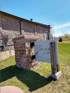 sign outside Falls Overlook Cafe at Falls Park in Sioux Falls, South Dakota