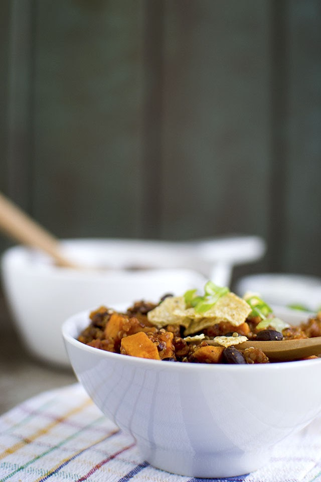 Vegetarian Chili with Sweet potato and Quinoa