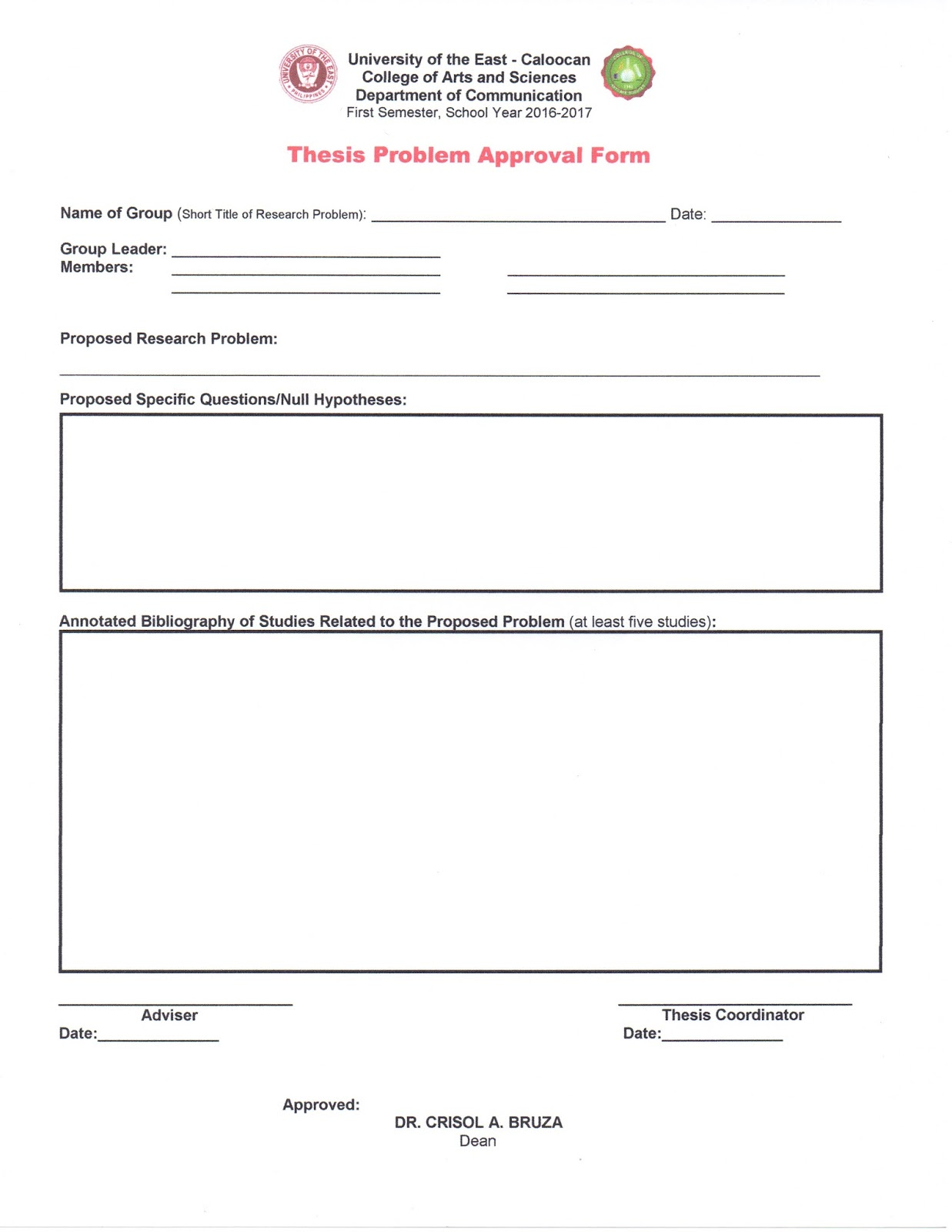 thesis approval form Approval for thesis exam(times new roman  14 point, bold) as the assigned research supervisor of the following student: (ti.