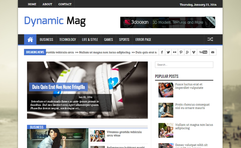 Dynamic Mag - Responsive Blogger Template