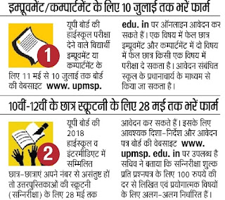 UP Board 10th Compartment 2018: News has comes