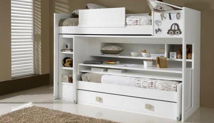 Dormitorio juvenil con cama nido blanca armario de 2 - Literas con armario incorporado ...